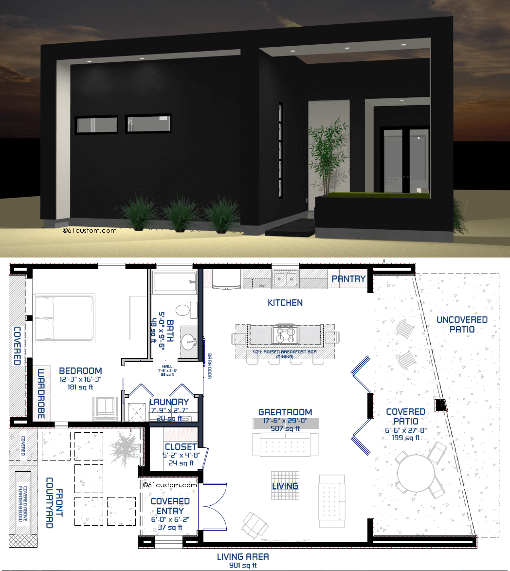 Studio900 small courtyard plan for Modern tiny house design