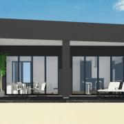 small modern house plan - patio