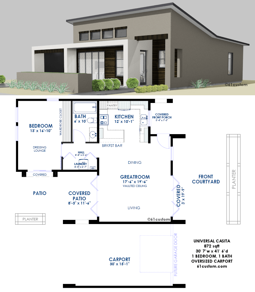 Contemporary Casita Plan: Small Modern House Plan