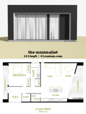 the minimalist: small modern house plan | 61custom