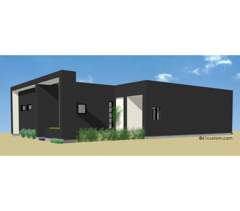 1162 Small Modern House Plan   61custom