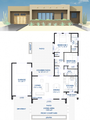 Contemporary Adobe House Plan | 61custom