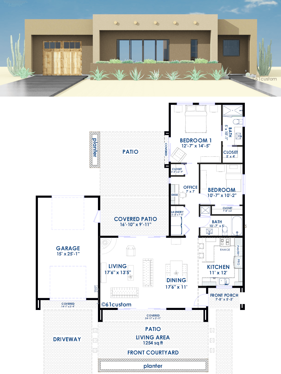 modern one bedroom house plans contemporary adobe house plan 61custom contemporary 19275