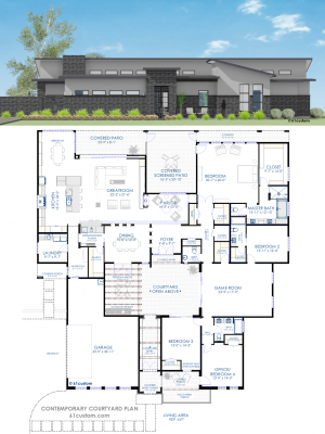 contemporary courtyard house plan | 61custom