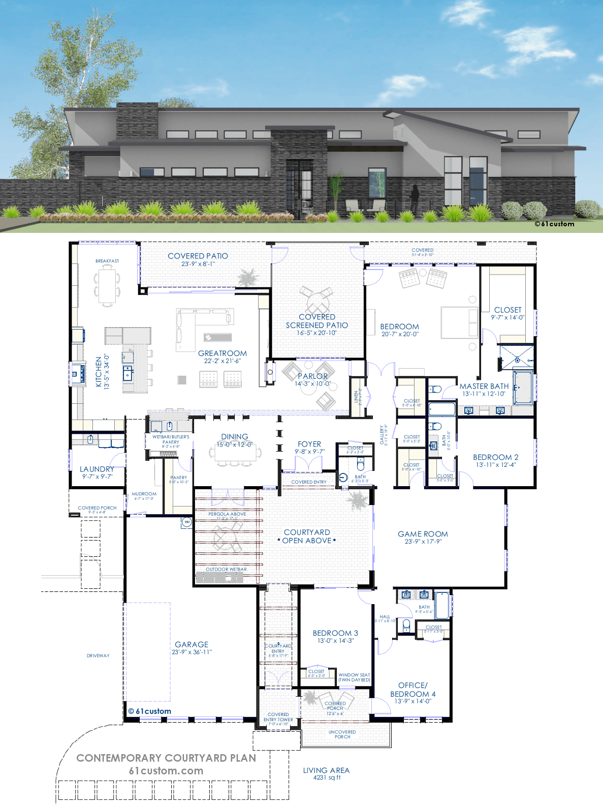Contemporary courtyard house plan 61custom modern house plans for Small modern house designs and floor plans