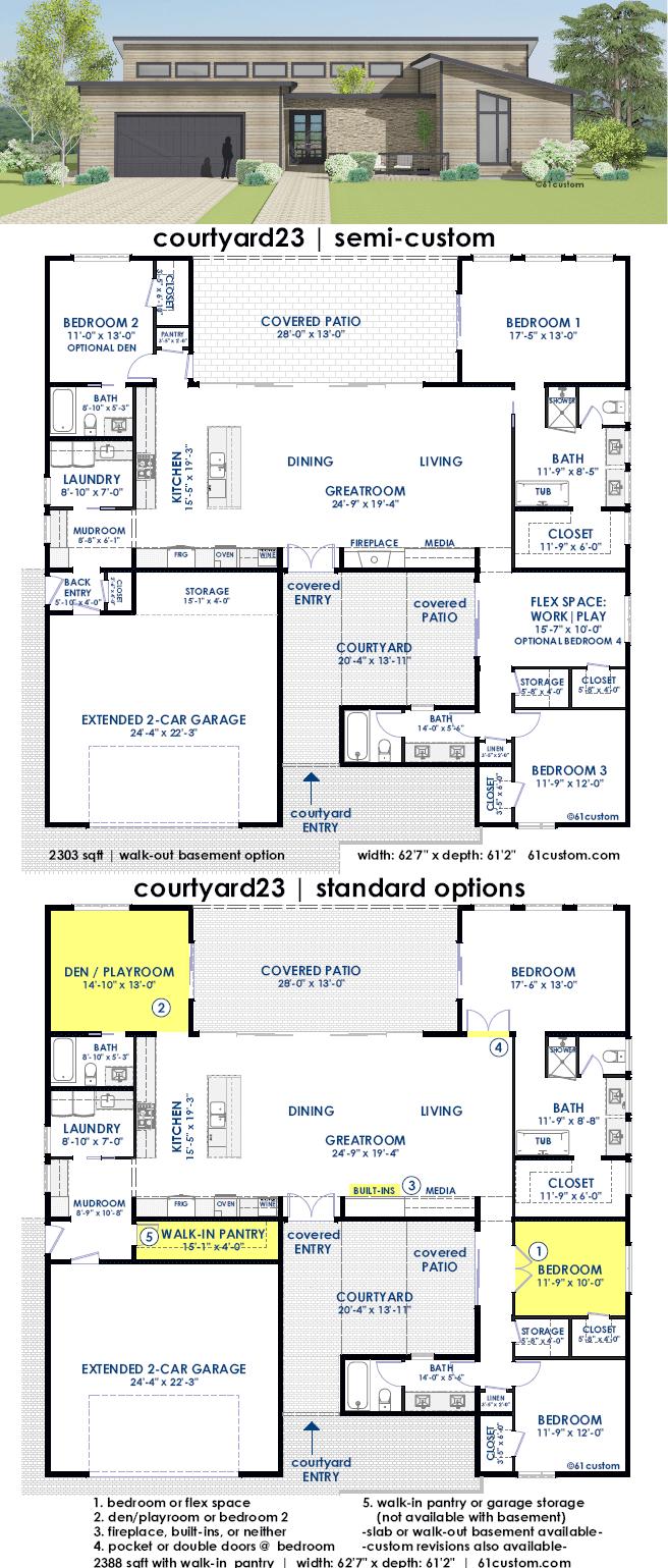 Courtyard23 semi custom home plan 61custom - Semi open floor plan ...
