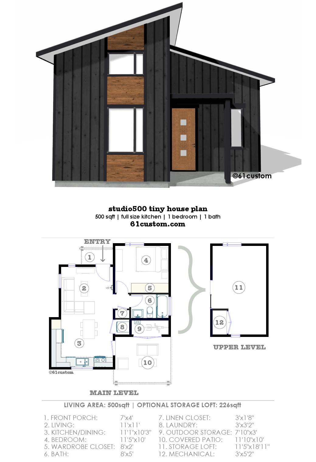 Studio500 tiny house plan 61custom